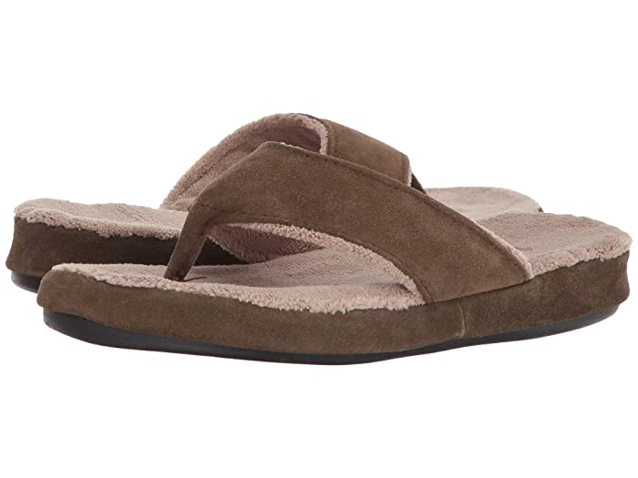 Acorn  Suede Spa Thong (Smoky Taupe) Womens Sandals
