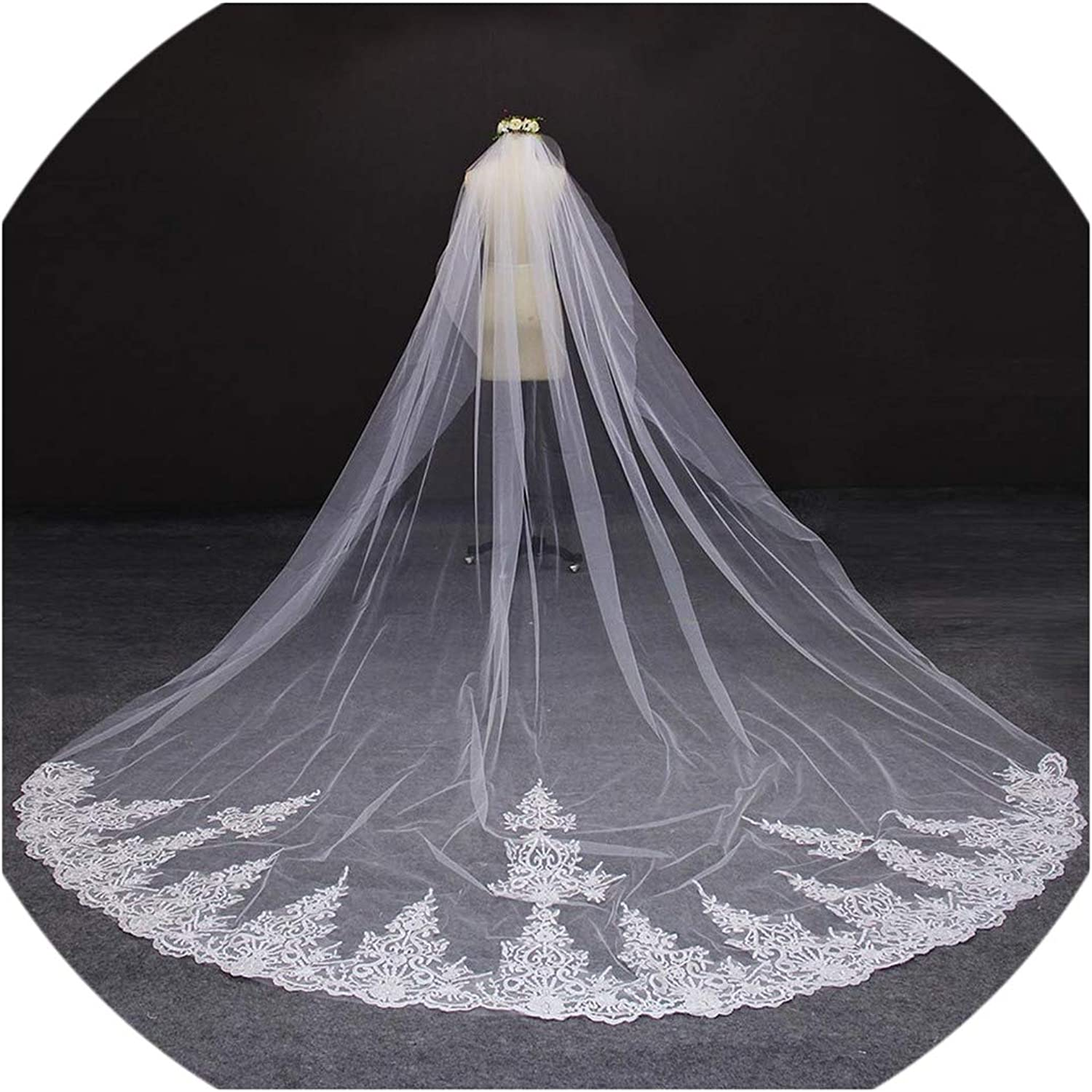 4 Meter White Ivory One Layer Beautiful Cathedral Length Lace Edge Wedding Veil With Comb Long Bridal Veil Voile Mariage 2019,Ivory