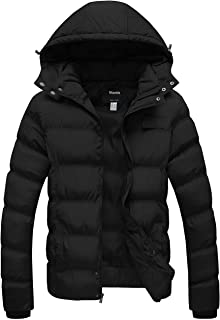 Wantdo Men's Hooded Winter Coat Warm Puffer Jacket Thicken Cotton Coat with Removable Hood