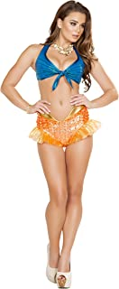 2 Piece Mermaid Sea Siren Iridescent Blue Top & Orange Shorts Party Costume