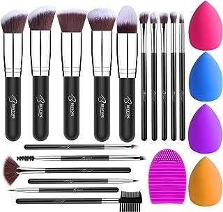 BESTOPE Makeup Brushes 16PCs Makeup Brushes Set with 4PCs Makeup Sponge and 1 Brush Cleaner Premium Synthetic Foundation Brushes Blending Face Powder Eye Shadows Make Up Brushes Tool(silver)