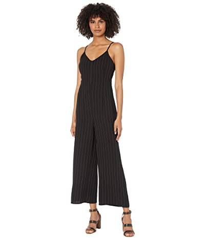 Cupcakes and Cashmere Lana Pinstriped Crepe Spaghetti Strap Cropped Leg Jumpsuit (Black) Women