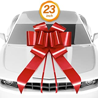 """1 Pack Zoe Deco Big Car Bow with 2 Gold Accessory Bows 23/"""" Pink Giant Bow for"""