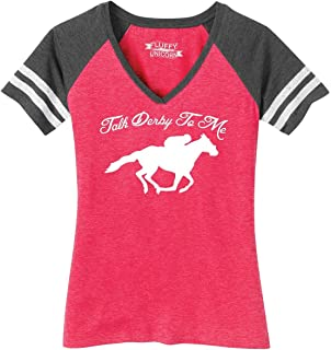 Ladies Talk Derby Me Funny Horse Race, Kentucky Game V-Neck Tee