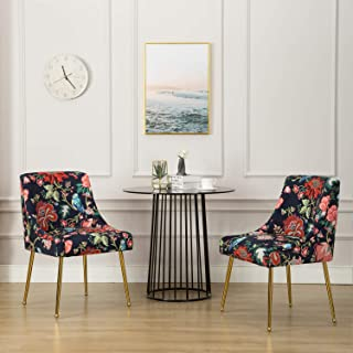 Mid Century Elegant Velvet Upholstered Dining Chair, Guest Chairs with Polished Gold Metal Legs for Living Room/Kitchen/Vanity/Patio, Set of 2,Retro Floral Pattern(Red Flower)