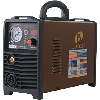 Lotos LTP5500D Non-Touch Pilot Arc Plasma Cutter, Dual Voltage 110V/220V, Brown (55AMP Digital)
