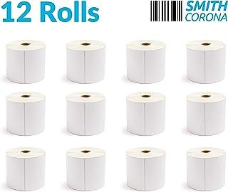 Smith Corona - 12 بكرة مقاس 10.16 سم × 15.24 سم، 475 ملصق لكل لفة، صنع في الولايات المتحدة الأمريكية، إجمالي 5700 ملصق، لل...