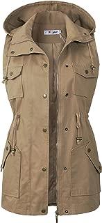 Womens Utility Vest Drawstring Waist Military Sleeveless Jacket