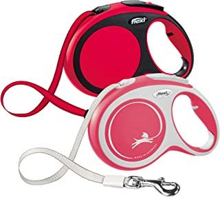 Flexi New Comfort Retractable Dog Leash (Tape), 26 ft, Large, Red
