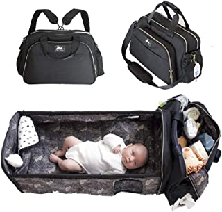 Laluka Baby Travel Bed - 4 in 1 Diaper Bag Travel Bassinet Change Station Black