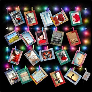 Artsay 20 Pack Paper Picture Frames 4x6 with Wood Clips and String Light, Multi Color, DIY Photo Collage Wall Hanging Display