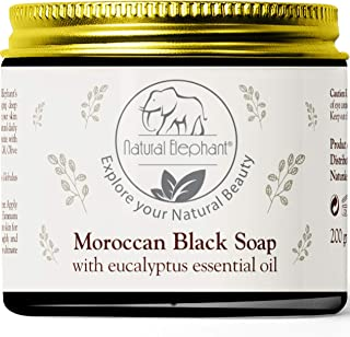 Natural Elephant Moroccan Black Soap With Eucalyptus Essential Oil 200g (7oz)