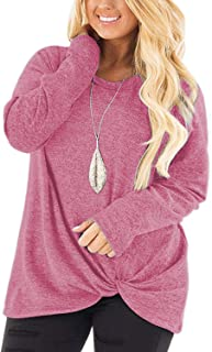 Womens Plus Size Knotted Tops Long Sleeve Tee Shirts...