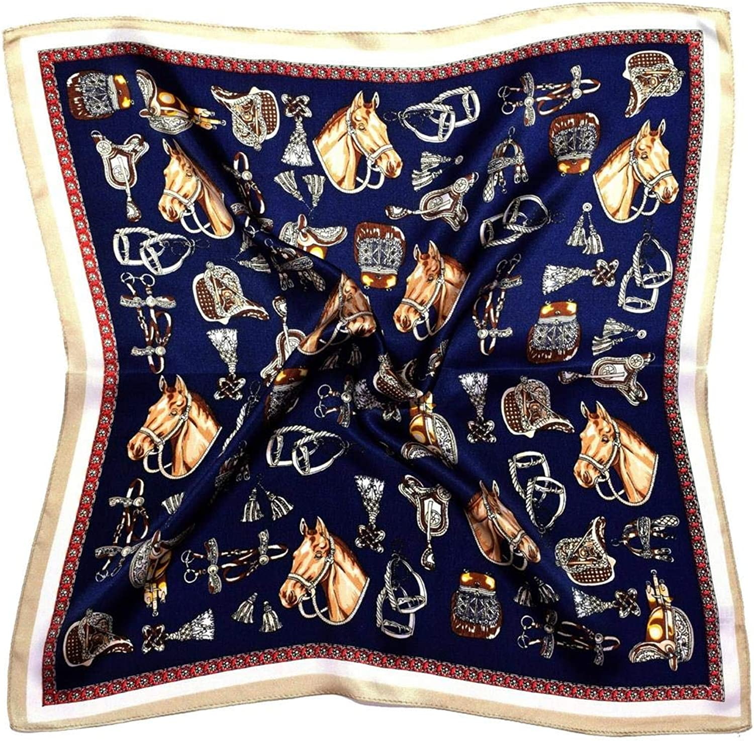 bluee Beige Horses Thick Silk Small Square Scarf