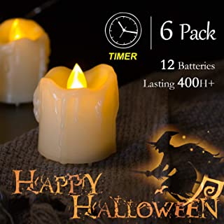 Homemory 400+ Hours 6 Pack Flameless LED Votive Candles with Timer, Battery Operated and Remote Control, Flickering Tea Lights 1.5x1.7 inches