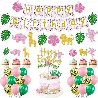 Jungle Safari Animal Birthday Party Supplies, Pink Green Gold Glittery Safari Animal Birthday Banner Cake Toppers Balloons...