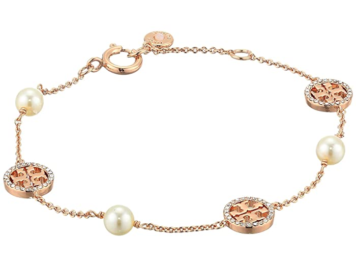 395f84fc215cd7 Tory Burch Crystal Pearl Delicate Logo Bracelet at Zappos.com