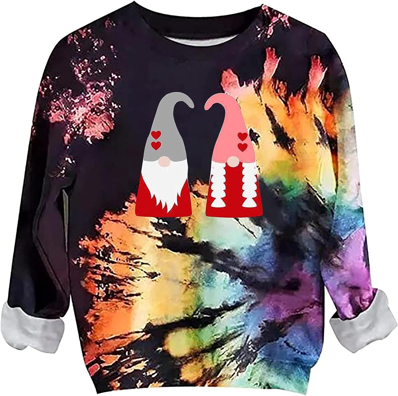 Halloween Sweatshirts for Women Tie Dye Casual Tops Crewneck Long Sleeve Pullover Tops Merry Christmas Sweatshirt Cute