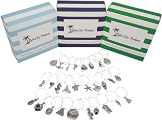 Food and Fun Wine Charm Bundled Gift Set - Food, Beach, and Sports Themes, 28 Pieces Total