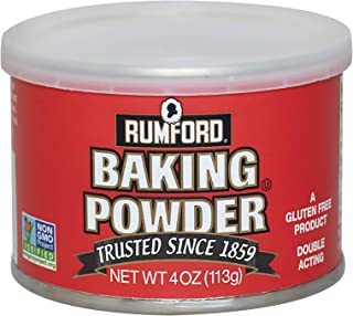 Rumford Baking Powder, NON-GMO Gluten Free, Vegan, Vegetarian, Double Acting Baking Powder in a Resealable Can with Easy M...