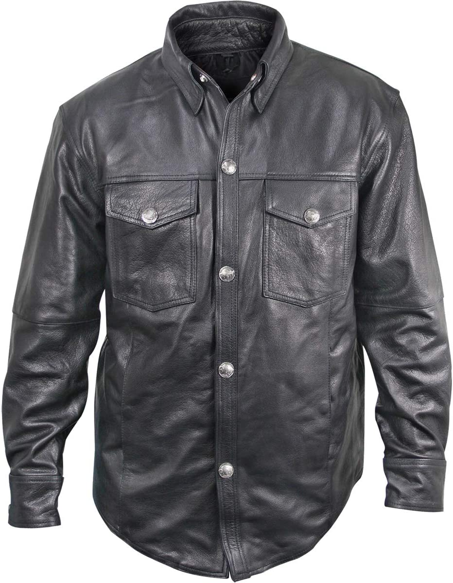 Xelement XS908B Men's 'Nickel' Black Casual Leather Shirt with Vintage Buffalo Buttons - 3X-Large