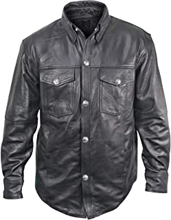 Xelement XS908B Men's Black Leather Shirt with Buffalo Buttons - 3X-Large