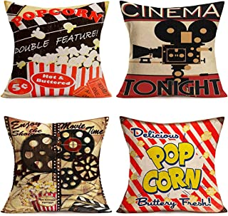 YANGYULU 4Pcs Movie Theater Cinema Popcorn Personalized Home Decor Throw Pillow Covers Vintage Filmstrip ClapperBoard Cot...