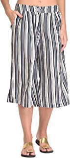 Rapsodia Women Black & White Stripe Printed Culottes