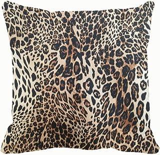 Chou_Joo_Home Funda de cojín decorativa con textura de leopardo con estampado de animales y vida silvestre de 45,7 x 45,7 cm