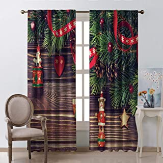Brown Room Darkening Curtains Christmas Decoration Accessories Rustic Wooden Plank Backdrop Old Fashioned Time Theme Ribbon Polyester W72 xL84