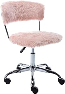 Wahson Cute Fuzzy Faux Fur Kids Desk Chair with Wheels, Height Adjustable Fluffy Swivel Task Chair Armless, for Kids/Girls, Pink