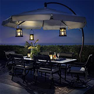 GIGALUMI 8 Pack Solar Hanging Lantern Outdoor, Candle Effect Light with Stake for Garden,Patio, Lawn, Deck, Umbrella, Ten...