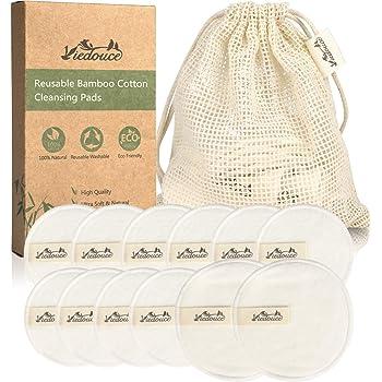 Viedouce Discos Desmaquillantes,Almohadillas Desmaquillantes Reutilizables,100% Algodón de Bambú Orgánico,Almohadilla Desmaquillante Facial con Bolsa de Lavado,Aptos para Todo Tipo de Pieles (12pcs): Amazon.es: Belleza