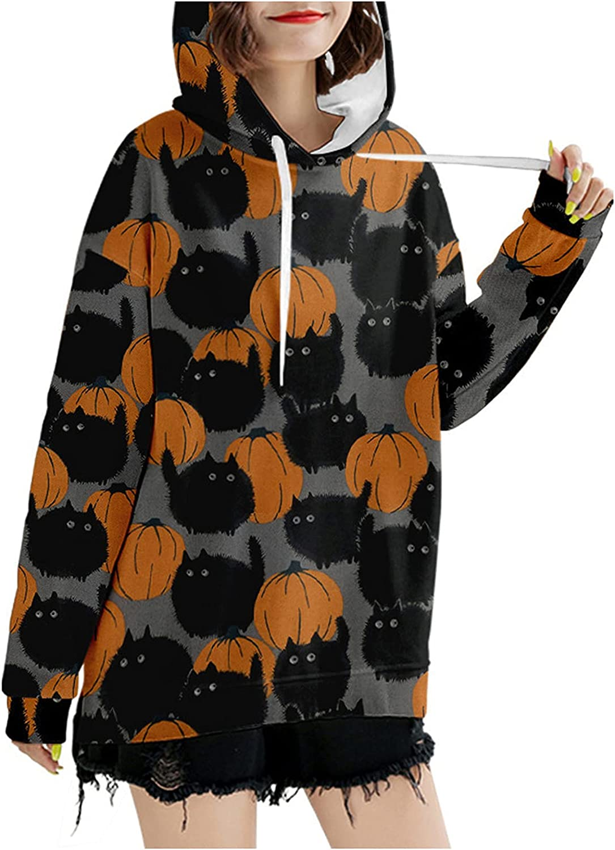 Halloween Hoodies for Women Fall Casual Long Sleeve Shirts Fashion Pumpkin Print Casual Drawstring Tops Hooded Blouse