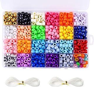 FEPITO 1100Pcs Pony Beads for Bracelets Making Acrylic Rainbow Pony Beads Bulk for Hair Braids and Jewelry Bracelets Making
