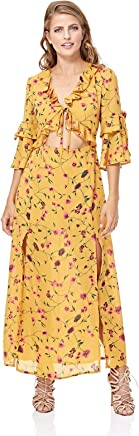 cabf0a773566 GLAMOROUS Women's Mustard Floral Print Tie Front Maxi Dress