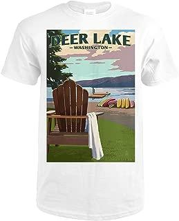 Deer Lake, Washington - Adirondack Chairs and Lake 68850 (Premium White T-Shirt XX-Large)