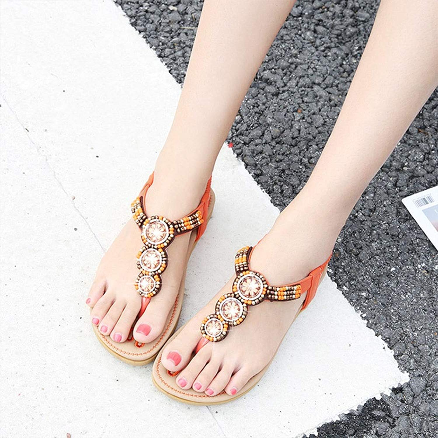 WENNEW Bohemian Sandals Beaded Star Distaff Sandals Round Head Easy Women's shoes