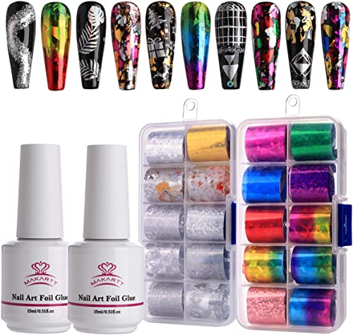 Makartt Nail Art Foil Glue Gel with Starry Sky Star Foil Stickers Set Nail Transfer Tips Manicure Art DIY 15ML, 20PCS (2.5cm60cm) Stickers, UV LED Lamp Required product image