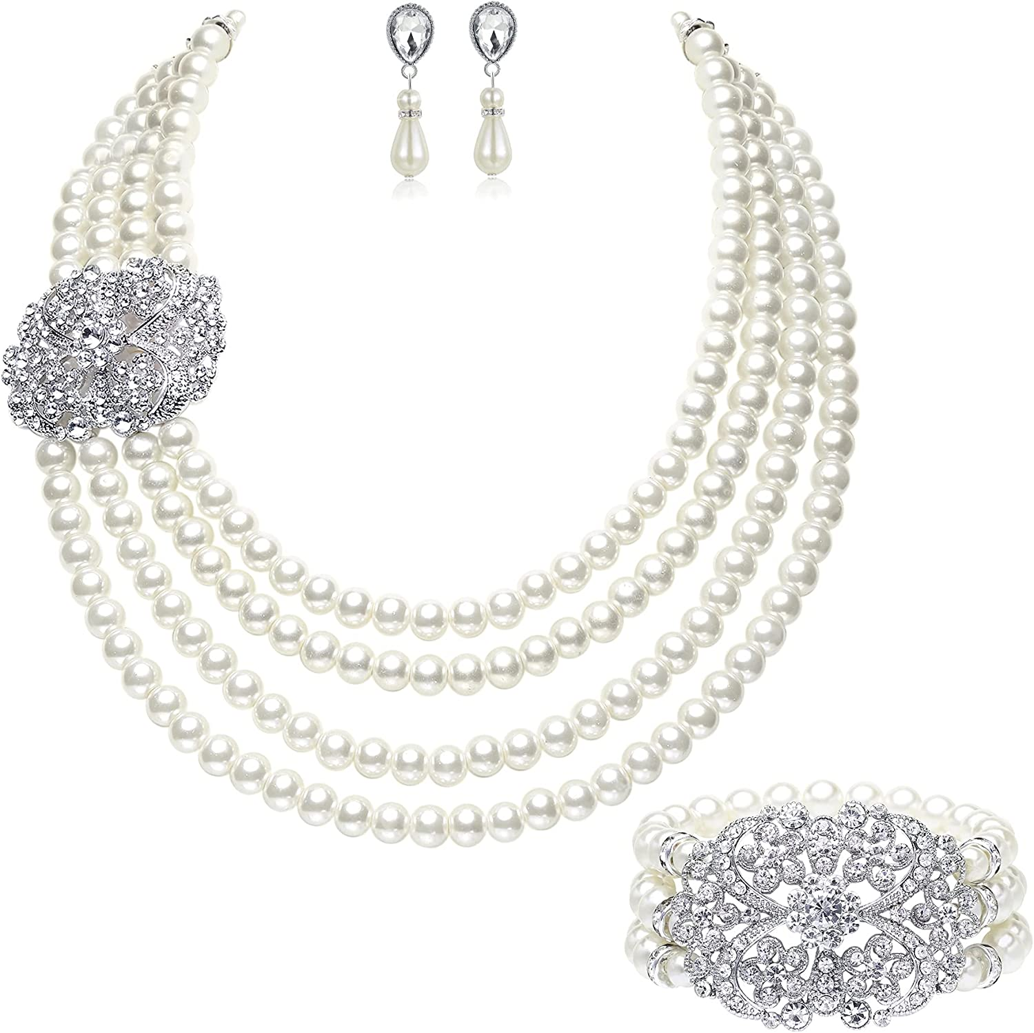 BABEYOND 1920s Gatsby Pearl Necklace Vintage Bridal Pearl Necklace Earrings Jewelry Set Multilayer Imitation Pearl Necklace with Brooch