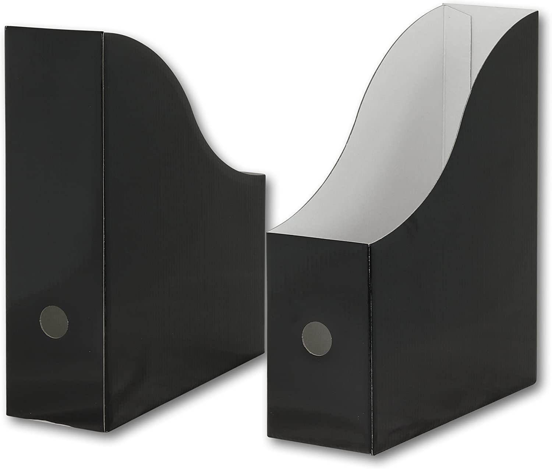 Pack of 6 Simple Houseware Black Magazine File Holder Organizer Box