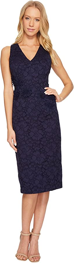 Maggy London - Rose Garden Lace V-Neck Sheathe Dress