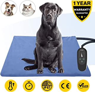 Upgrade Pet Heating Pad with Timer,Electric Pet Bed Warmer,Waterproof Heating Pad for Dogs Cat,Soft Heated Pet Mat,Indoor Pet Thermal Pad with Chew Resistant Cord,Washable Cover,Adjustable Temperature