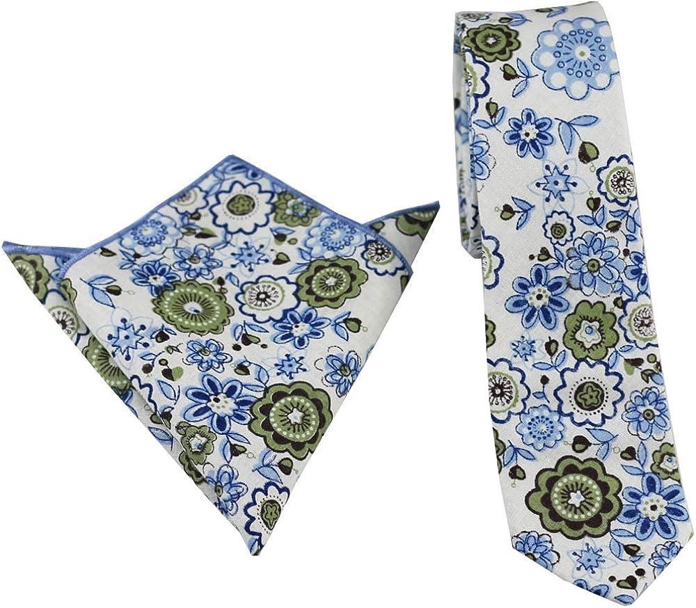 Coachella Ties White Blue Flowers Cotton Necktie Skinny Tie Pocket Square Bowtie (Tie+Pocket Square)