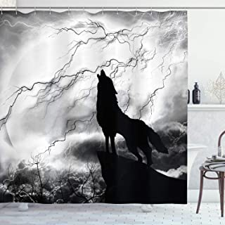 Ambesonne Wolf Shower Curtain, Howling Animal Silhouette on a Cliff Under Full Moon Mysterious Dramatic Sky, Cloth Fabric Bathroom Decor Set with Hooks, 70