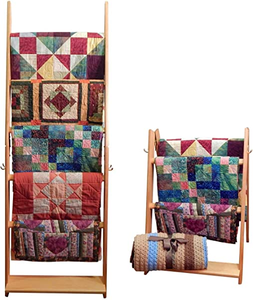 Built By Briick Quilting The LadderRack 2 In 1 Quilt Display Rack 5 Rung 24 Model Golden Pecan