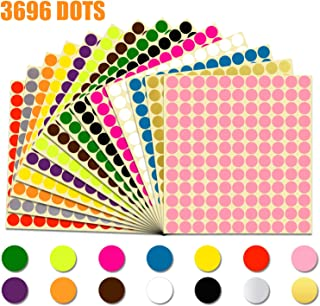 3696 pcs 1/2'' Round Color Coding Labels Circle Dot Stickers,14 Bright Neon Colors,Print or Write