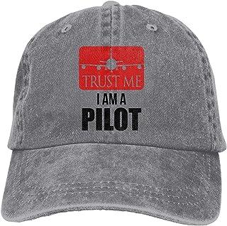 Unisexo Gorras de béisbol/Sombrero, Trust Me I Am A Pilot Cowboy Cap Adjustable Trucker Baseball Hat Gray