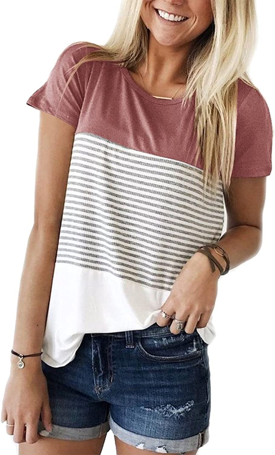 Hount Womans Casual Round Neck Short Sleeve Striped Tops