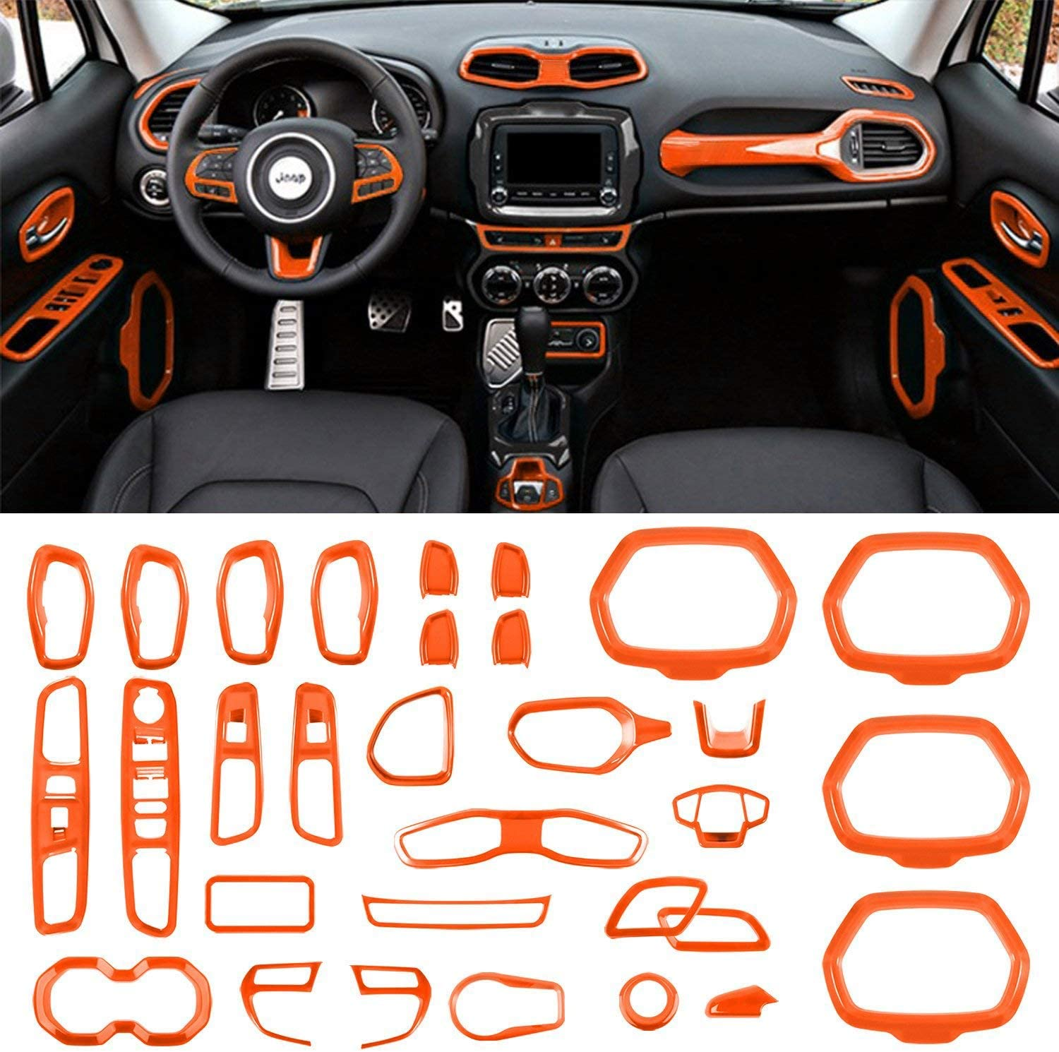 Danti Car Interior Accessories Decoration Trim Air Conditioning Vent Decoration /& Door Speaker /& Water Cup Holder /& Headlight Switch /& Window Lift Button Covers for Jeep Renegade 2015-2020 Black